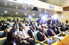 South Sudan government delegates during the recent talks in Addis Ababa (J. Tanza/VOA)