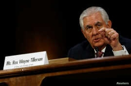 Rex Tillerson, the former chairman and chief executive officer of ExxonMobil, testifies before a Senate Foreign Relations Committee confirmation hearing on his nomination to be U.S. secretary of state in Washington, Jan. 11, 2017.