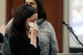 Gymnast  Kaylee Lorincz gives her victim impact statement during the seventh day of Larry Nassar's sentencing hearing, Jan. 24, 2018, in Lansing, Mich.