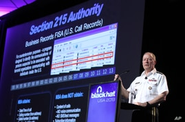 Army General Keith Alexander, head of the National Security Agency delivers a keynote address at the Black Hat hacker conference on July 31, 2013, in Las Vegas.