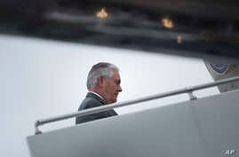 FILE - U.S. Secretary of State Rex Tillerson boards his plane at Cologne Bonn Airport, Germany, as he leaves after a meeting of Foreign Ministers of the G-20 leading and developing economies, Feb. 17, 2017. On Wednesday, he and U.S. Homeland Security