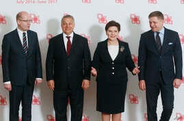 Prime ministers of the Visegrad group countries, from left, Czech Republic's Prime Minister Bohuslav Sobotka, Hungarian Prime Minister Viktor Orban, Polish Prime Minister Beata Szydlo and Slovakian Prime Minister Robert Fico pose for media before the