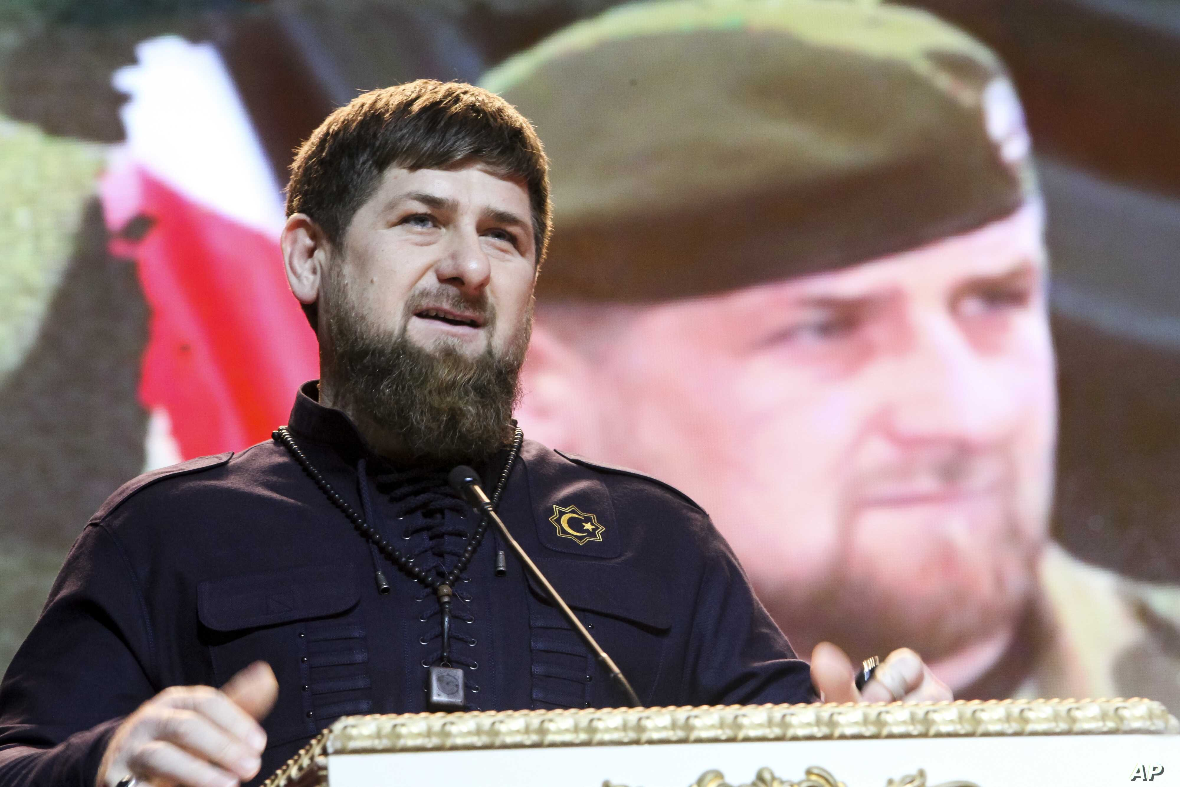 FILE - Chechen leader Ramzan Kadyrov speaks at a Defenders of the Fatherland Day celebration in the provincial capital of Grozny, Russia, Feb. 20, 2016. President Vladimir Putin has nominated him for another term, despite allegations of involvement i