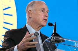 California Gov. Jerry Brown said he will need Republican's help to renew California's cap-and-trade program, while speaking at the California Chamber of Commerce 92nd Annual Sacramento Host Breakfast, June 1, 2017, in Sacramento, California.