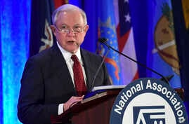 FILE - U.S. Attorney General Jeff Sessions speaks at the National Association of Attorneys General Winter Meeting in Washington, Feb. 27, 2018. Sessions will speak before the California Peace Officers' Association March 7 to make what's being billed