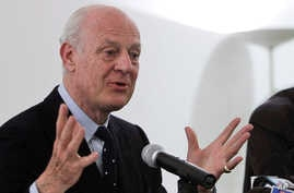 FILE - In this March 22, 2013, file photo, Staffan De Mistura, Italy's then-foreign ministry undersecretary, speaks during a news conference in New Delhi, India.