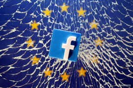 FILE - An illustration shows a 3-D-printed Facebook logo placed on broken glass above a printed EU flag.