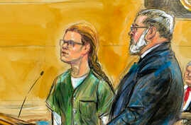 In this courtroom sketch, Maria Butina, left, is shown next to her attorney Robert Driscoll, before U.S. District Judge Tanya Chutkan, during a court hearing at the U.S. District Court in Washington, Dec. 13, 2018.