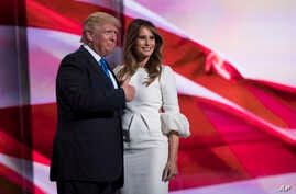Republican presidential candidate Donald Trump gives a thumbs up after his wife, Melania, spoke during the Republican National Convention, in Cleveland, July 18, 2016.