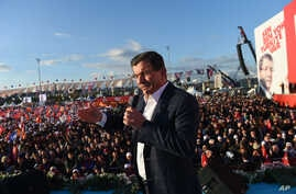 Turkish Prime Minister Ahmet Davutoglu and leader of the Justice and Development Party (AKP), delivers his speech at a rally in Istanbul, Oct. 25, 2015, ahead of the Nov. 1 general elections.