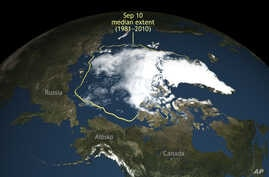 This image provided by the National Snow and Ice Data Center in Boulder, Colo., shows Arctic sea ice, which this summer shrank to its second-lowest level since scientists started to monitor it by satellite. The Colorado center said the sea ice shrank