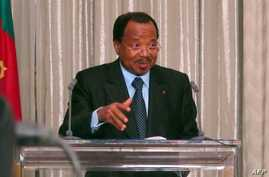 FILE - Cameroon President Paul Biya speaks at the presidential palace in Yaounde, April 19, 2013