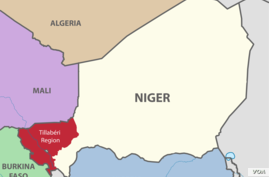 A map of Niger and surrounding countries, with Niger's Tillaberi region highlighted.