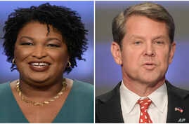 FILE - This combination of May 20, 2018, photos shows Georgia gubernatorial candidates Stacey Abrams, left, and Brian Kemp in Atlanta, Georgia.