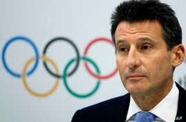 FILE - Sebastian Coe, then Chair of the London 2012 Organising Committee at the IOC Coordination Commission during the closing press conference in London.