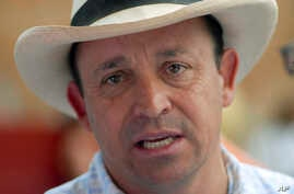 FILE - Santiago Uribe, shown in February 2008, was arrested Feb. 29, 2016, on charges that he created and led a death squad in Colombia in the 1990s.