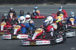 Fabienne Lanz, in kart number 04, leads a race in Oman recently. (Courtesy Fabienne Lanz's collection)