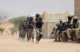 FILE - Nigerien special forces and Chadian troops participate with U.S. advisers in the Flintlock exercise in Mao, Chad, March 7, 2015.