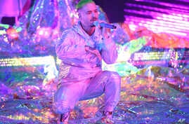 J Balvin performs at the Latin Grammy Awards, Nov. 15, 2018, at the MGM Grand Garden Arena in Las Vegas.