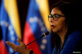 FILE - Delcy Rodriguez, president of the National Constituent Assembly talks to the media during a news conference in Caracas, Venezuela, Aug. 28, 2017.