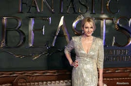 "FILE - Writer J.K. Rowling poses as she arrives for the European premiere of the film ""Fantastic Beasts and Where to Find Them"" in Leicester Square in London, Nov. 15, 2016."