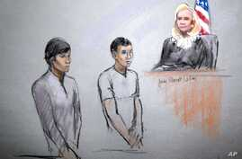 Courtroom sketch shows defendants Dias Kadyrbayev, left, and Azamat Tazhayakov appearing in front of Federal Magistrate Marianne Bowler at the Moakley Federal Courthouse in Boston, May 1, 2013.