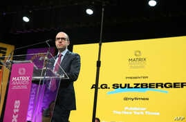 "FILE - New York Times publisher A.G. Sulzberger said he warned President Donald Trump that his attacks on the press were ""dangerous and harmful to our country."" Sulzberger is shown at the 2018 Matrix Awards in New York City, April 23, 2018."