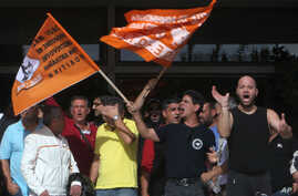 Local authorities workers protest in front of the Interior Ministry in central Athens, Greece, November 7, 2012.
