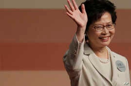 Former Hong Kong Chief Secretary Carrie Lam declares her victory in the chief executive election in Hong Kong, March 26, 2017. A Hong Kong committee has chosen the government's former No. 2 official Lam to be the semiautonomous Chinese city's next l...