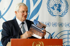 FILE - Stephen O'Brien, U.N. Under-Secretary-General for Humanitarian Affairs, attends a news conference at the United Nations in Geneva, Switzerland, June 22, 2017.