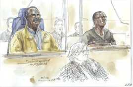 "FILE - This courtroom sketch made on May 10, 2016 shows Tito Barahira (back, L) and Octavien Ngenzi (back, R), two former Rwandan mayors who are accused of orchestrating ""massive and systematic summary executions"" in the central African country's 199"