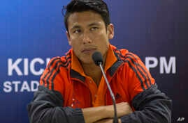 FILE – In this March 11, 2015 file photo, Nepal soccer tea