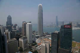 FILE - A general view of skyscrapers in Hong Kong. Some are beginning to question Hong Kong's diminishing viability as a global financial center.