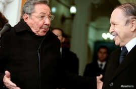 FILE PHOTO: On Feb. 8, 2009, Cuba's President Raul Castro, left, looks to his Algerian counterpart Abdelaziz Bouteflika at the presidential palace in Algiers.