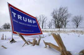 A campaign sign for U.S. Republican presidential candidate Donald Trump is seen on the side of the road in Mt. Ayr, Iowa, Jan. 22, 2016.