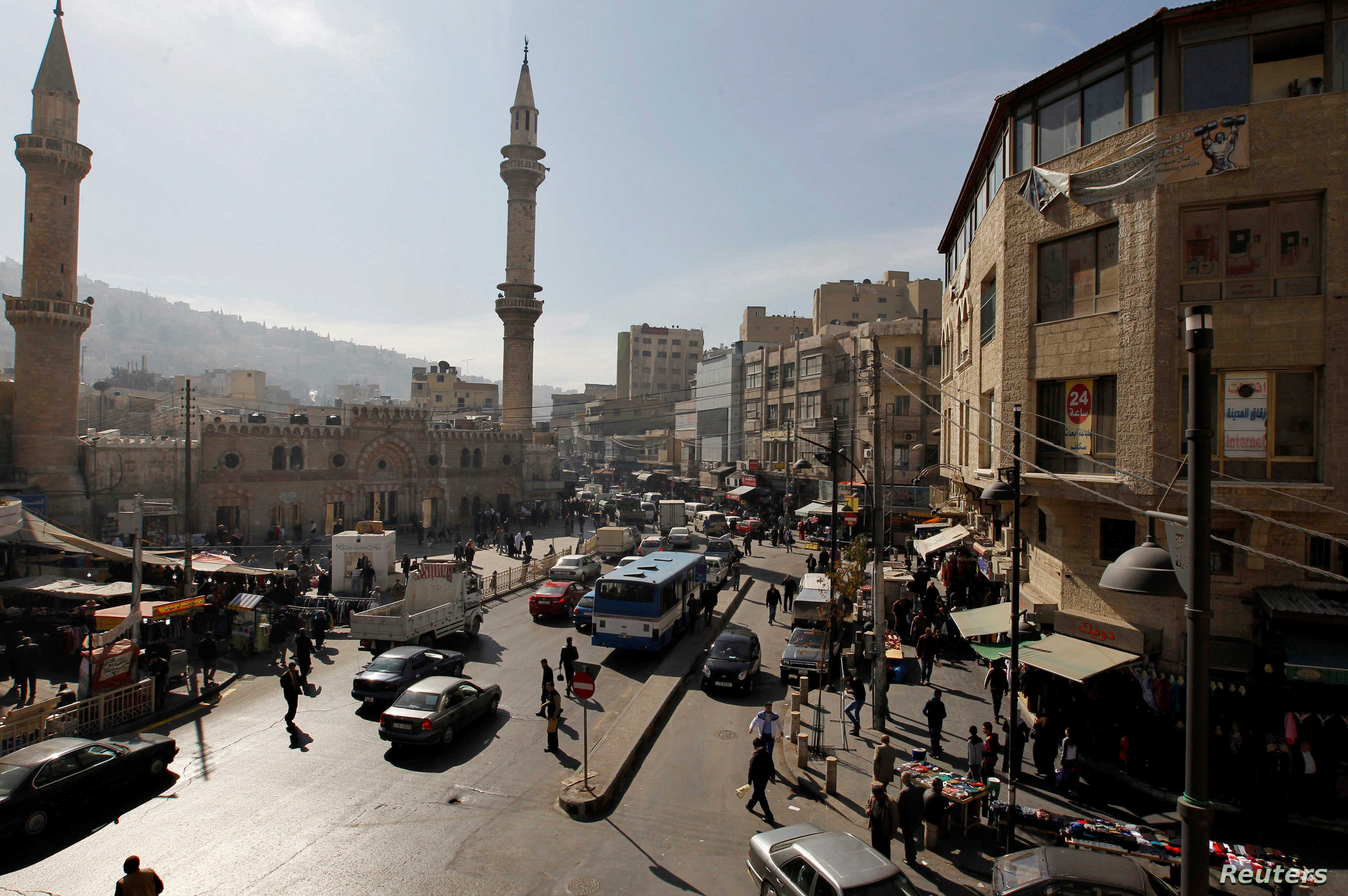 FILE - A general view of the downtown area of the Jordanian capital near the Grand Husseini mosque in Amman, Jan. 21, 2014.