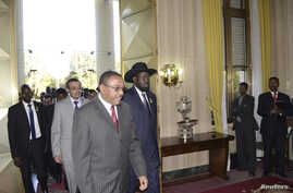 South Sudan's President Salva Kiir (C) walks with Ethiopia's Prime Minister Hailemariam Desalegn (3rd L) as he arrives for talks with leaders from Sudan in the Ethiopian capital Addis Ababa, January 4, 2013.