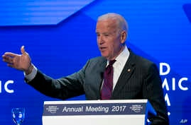 U.S. Vice President Joe Biden speaks during an event prior to the World Economic Forum in Davos, Switzerland, Jan. 16, 2017.
