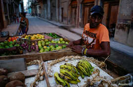 Self-employed Yuqui Morales sells produce from a cart in Havana, Cuba, April 14, 2018.
