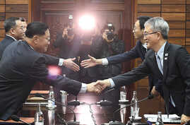 Kwon Hyok Bong, director of the Arts and Performance Bureau in North Korea's Culture Ministry, shakes hands with Lee Woo-sung, head of the South Korean delegation, after their meeting at Tongilgak, the North's building in the truce village of Panmunj