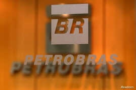 FILE - The logo of Brazil's state-run oil company Petrobras is pictured in the company headquarters in Sao Paulo, Brazil.