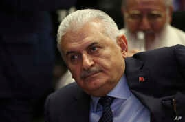 Binali Yildirim, Turkey's Transportation Minister and founding member of Turkey's governing AKP party, participates in a meeting in Ankara, Turkey on May 12, 2016.