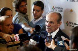 Brazil's Health Minister Marcelo Castro talks to the media before joining other health ministers to discuss policies to deal with the Zika virus at the Mercosur building in Montevideo, Feb. 3, 2016.