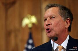 Ohio Governor John Kasich speaks at a press conference withdrawing as a U.S. Republican presidential candidate in Columbus, Ohio, May 4, 2016.