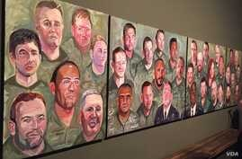 """A panoramic view of paintings from former president George W. Bush's """"Portraits of Courage"""" series is seen at the Bush Presidential Museum in Dallas, Texas. (K. Farabaugh/VOA)"""