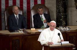 Pope Francis addresses a joint meeting of Congress on Capitol Hill in Washington making history as the first pontiff to do so, Sept. 24, 2015.