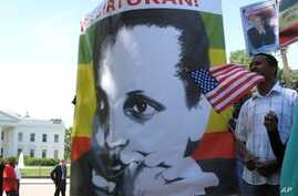 Ethiopian protesters in Washington have sought U.S. pressure to release jailed opposition leader Birtukan Mideksa.