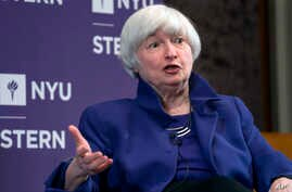 FILE - Federal Reserve Chair Janet Yellen participates in a moderated discussion at New York University's Stern School of Business, Tuesday, Nov. 21, 2017, in New York.