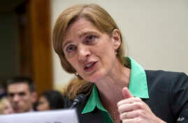U.S. United Nations Ambassador Samantha Power testifies on Capitol Hill in Washington, before the House Foreign Affairs committee hearing on Advancing U.S. Interests at the United Nations, June 16, 2015.