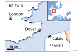Map: The English Channel between France and the United Kingdom.